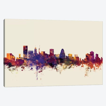 Baltimore, Maryland, USA On Beige Canvas Print #MTO192} by Michael Tompsett Art Print