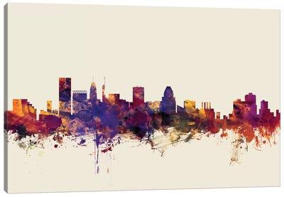 Skyline Series: Baltimore, Maryland, USA On Beige Canvas Print #MTO192