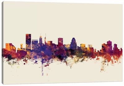 Baltimore, Maryland, USA On Beige Canvas Art Print