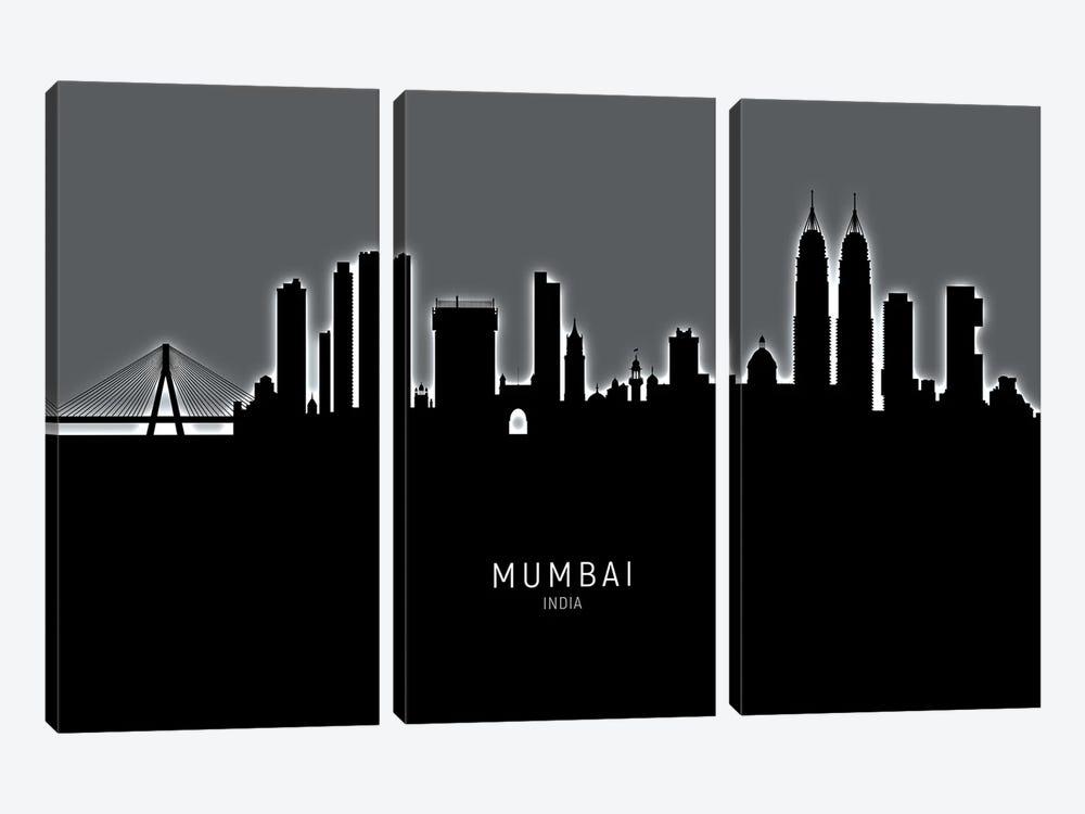 Mumbai Skyline India Bombay by Michael Tompsett 3-piece Canvas Wall Art