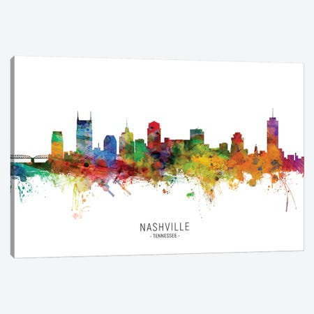 Nashville Tennessee Skyline Canvas Print #MTO1931} by Michael Tompsett Canvas Art