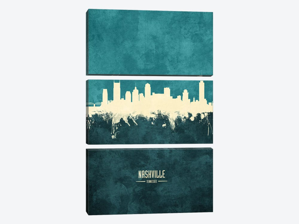 Nashville Tennessee Skyline by Michael Tompsett 3-piece Canvas Artwork