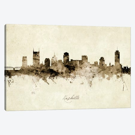 Nashville Tennessee Skyline Canvas Print #MTO1933} by Michael Tompsett Canvas Wall Art