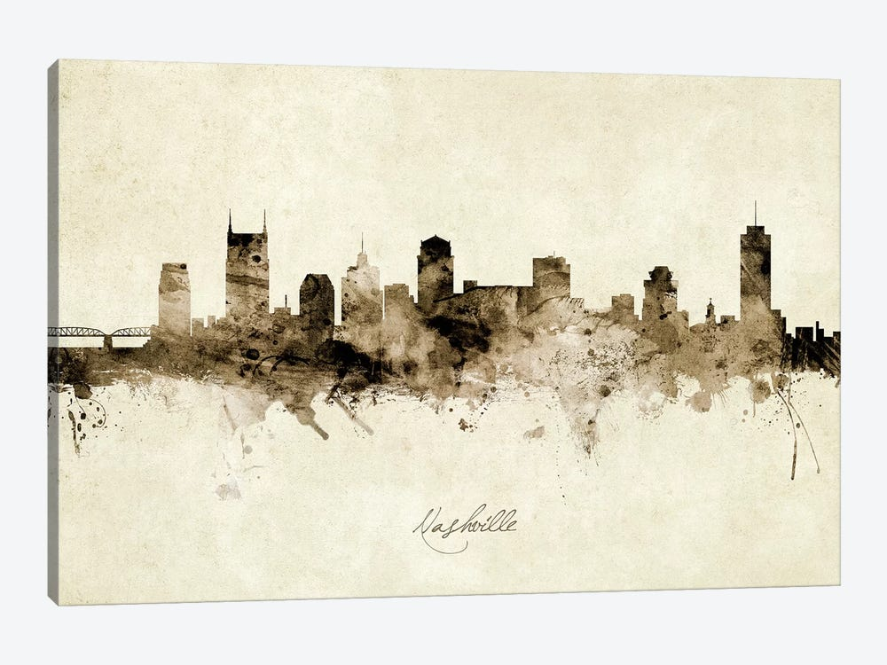 Nashville Tennessee Skyline by Michael Tompsett 1-piece Art Print