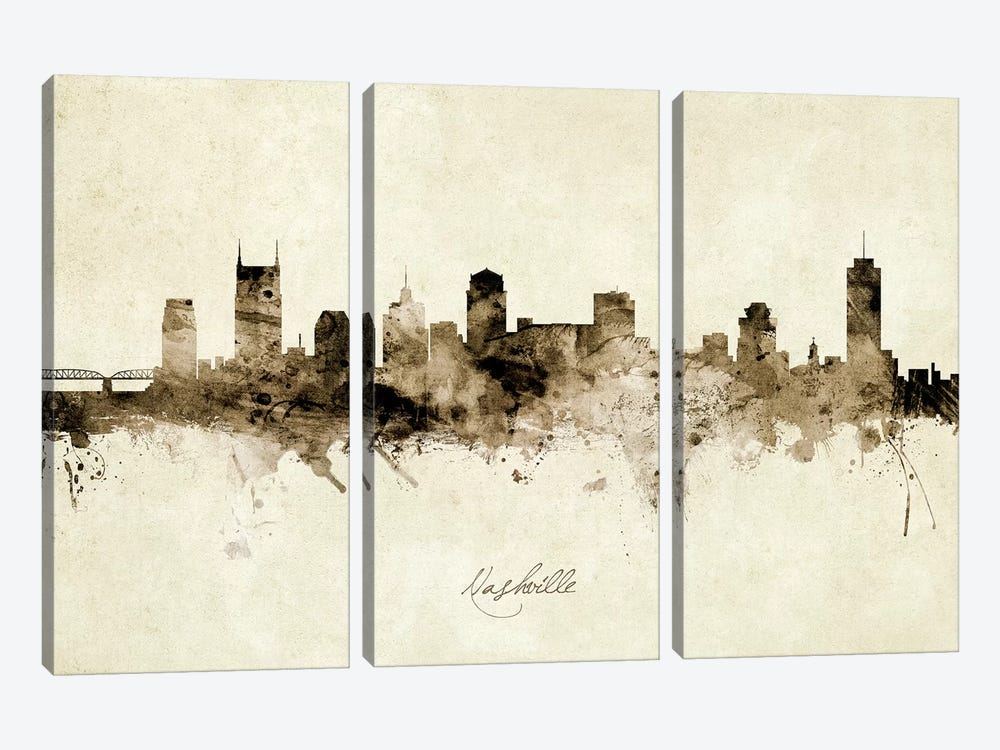 Nashville Tennessee Skyline by Michael Tompsett 3-piece Art Print