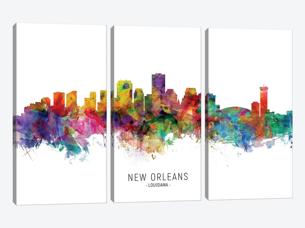 New Orleans Louisiana Skyline by Michael Tompsett 3-piece Canvas Art Print