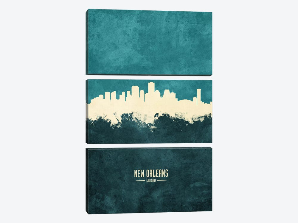 New Orleans Louisiana Skyline by Michael Tompsett 3-piece Canvas Art