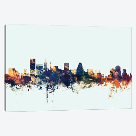 Baltimore, Maryland, USA On Blue Canvas Print #MTO193} by Michael Tompsett Art Print