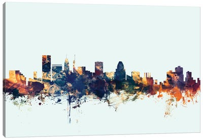Baltimore, Maryland, USA On Blue Canvas Art Print