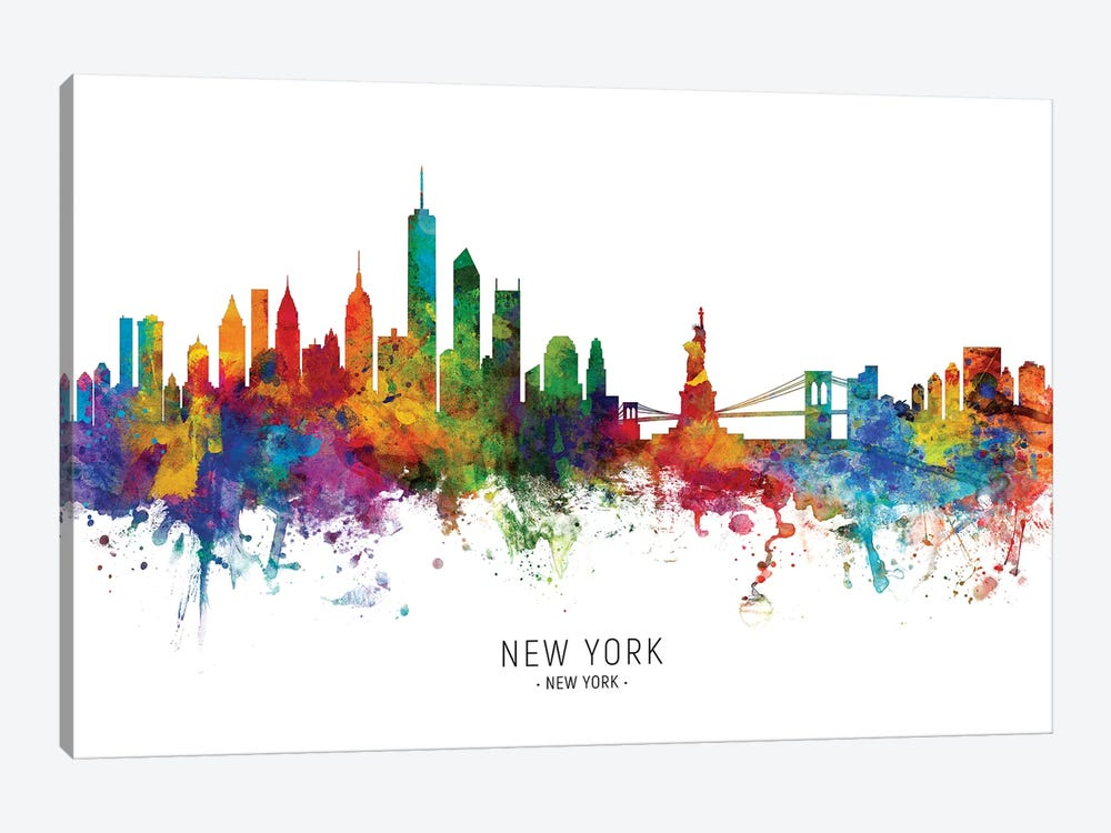 New York Skyline by Michael Tompsett 1-piece Canvas Wall Art