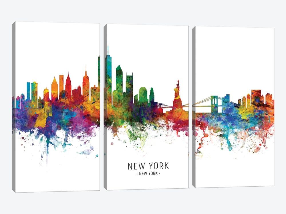 New York Skyline by Michael Tompsett 3-piece Canvas Wall Art