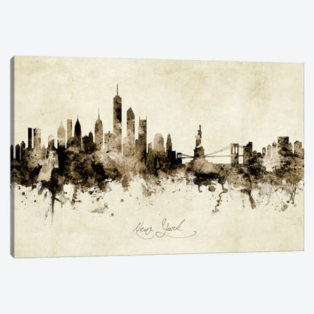 New York Skyline Canvas Print #MTO1942} by Michael Tompsett Art Print