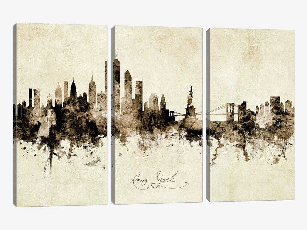 New York Skyline by Michael Tompsett 3-piece Canvas Art Print