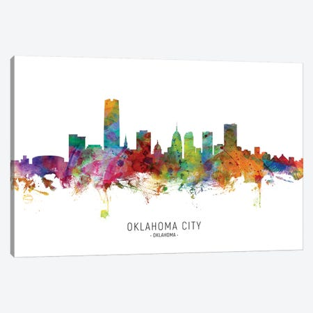 Oklahoma City Skyline Canvas Print #MTO1945} by Michael Tompsett Canvas Wall Art