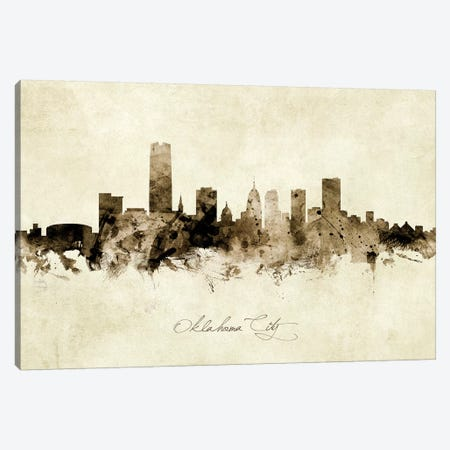 Oklahoma City Skyline Canvas Print #MTO1947} by Michael Tompsett Canvas Artwork