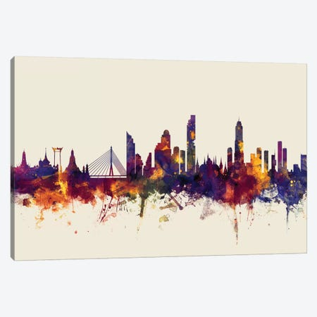 Bangkok, Thailand On Beige Canvas Print #MTO194} by Michael Tompsett Canvas Art