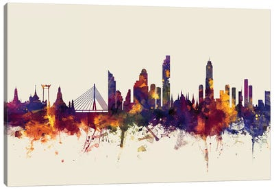 Skyline Series: Bangkok, Thailand On Beige Canvas Art Print