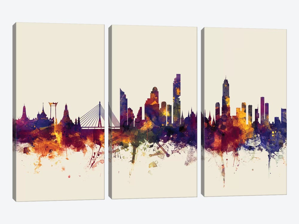 Bangkok, Thailand On Beige by Michael Tompsett 3-piece Canvas Print