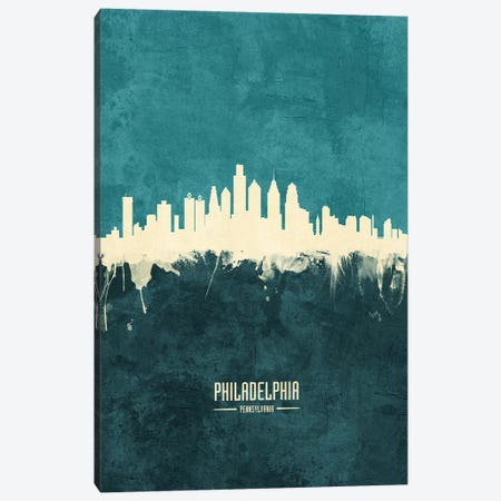 Philadelphia Pennsylvania Skyline Canvas Print #MTO1952} by Michael Tompsett Canvas Wall Art