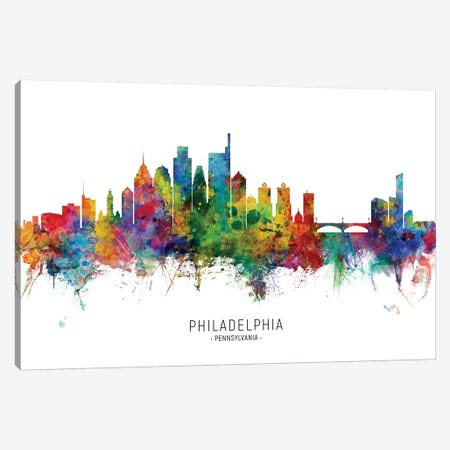 Philadelphia Pennsylvania Skyline Canvas Print #MTO1953} by Michael Tompsett Canvas Artwork