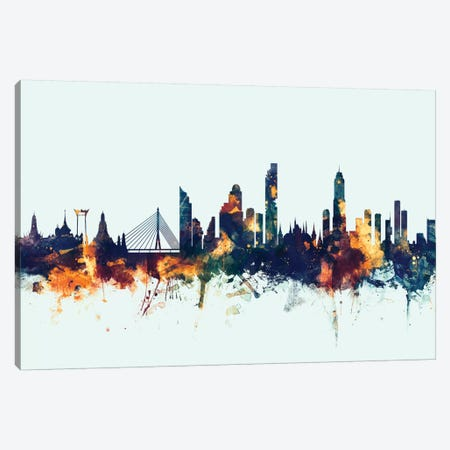 Bangkok, Thailand On Blue Canvas Print #MTO195} by Michael Tompsett Canvas Art
