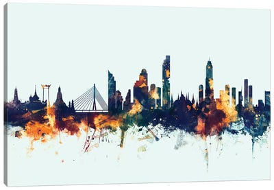 Skyline Series: Bangkok, Thailand On Blue Canvas Art Print