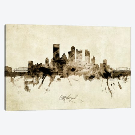 Pittsburgh Pennsylvania Skyline Canvas Print #MTO1960} by Michael Tompsett Canvas Art Print