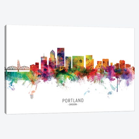 Portland Oregon Skyline Canvas Print #MTO1962} by Michael Tompsett Canvas Art Print