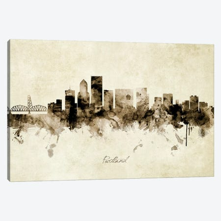Portland Oregon Skyline Canvas Print #MTO1964} by Michael Tompsett Canvas Art