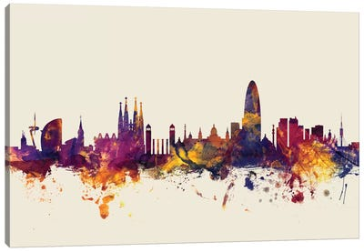 Skyline Series: Barcelona, Spain On Beige Canvas Art Print
