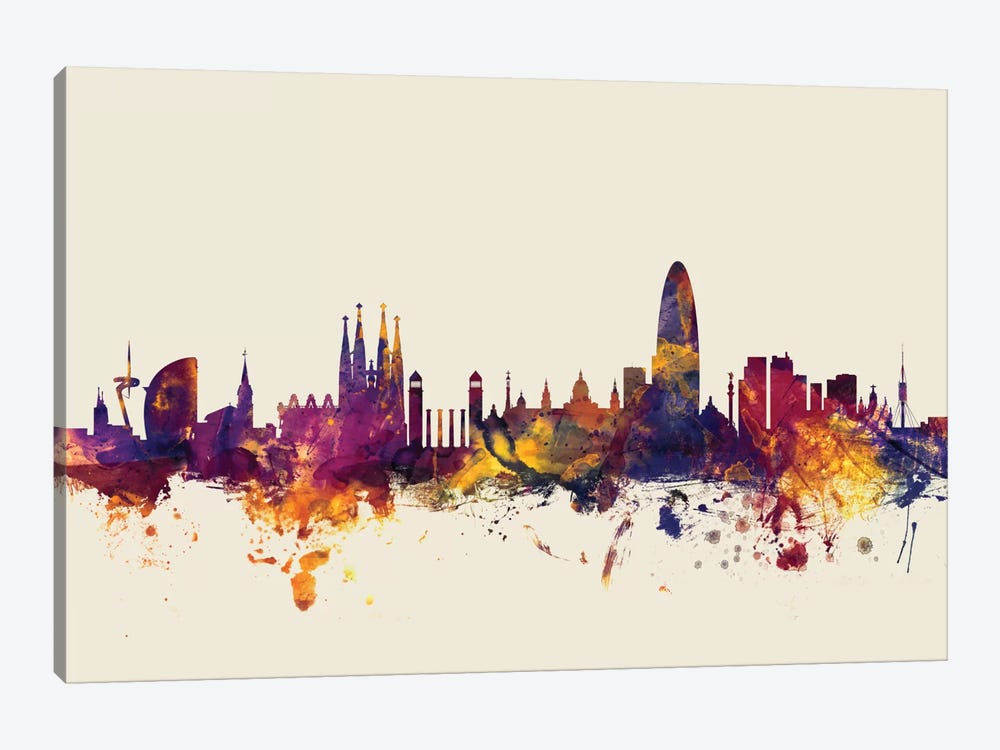 Skyline Series: Barcelona, Spain On Beige by Michael Tompsett 1-piece Art Print