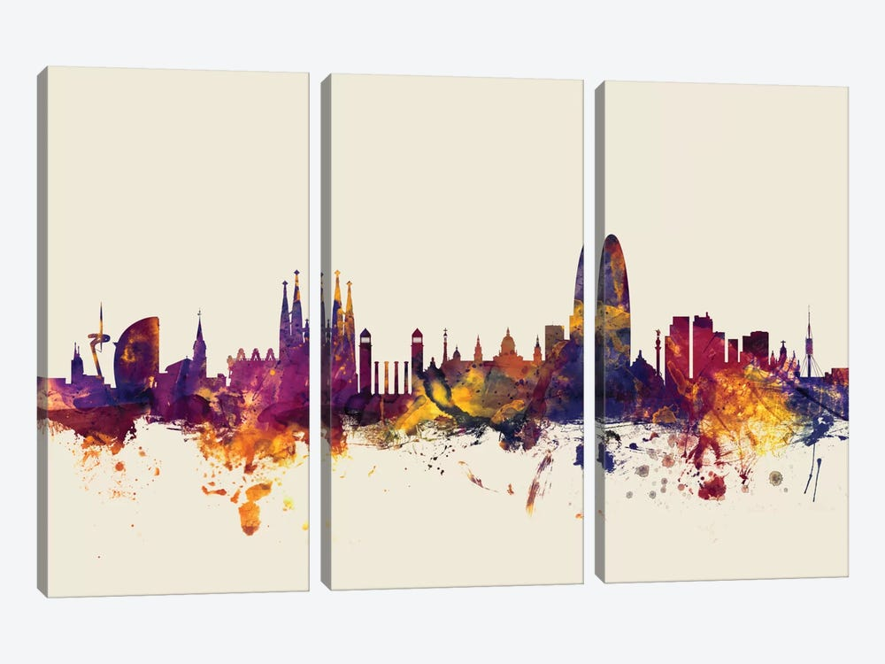 Skyline Series: Barcelona, Spain On Beige by Michael Tompsett 3-piece Art Print