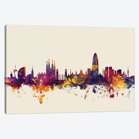 Barcelona, Spain On Beige Canvas Print #MTO196} by Michael Tompsett Canvas Artwork