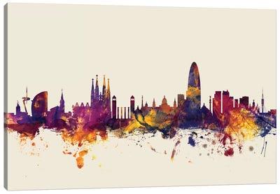 Barcelona, Spain On Beige Canvas Art Print