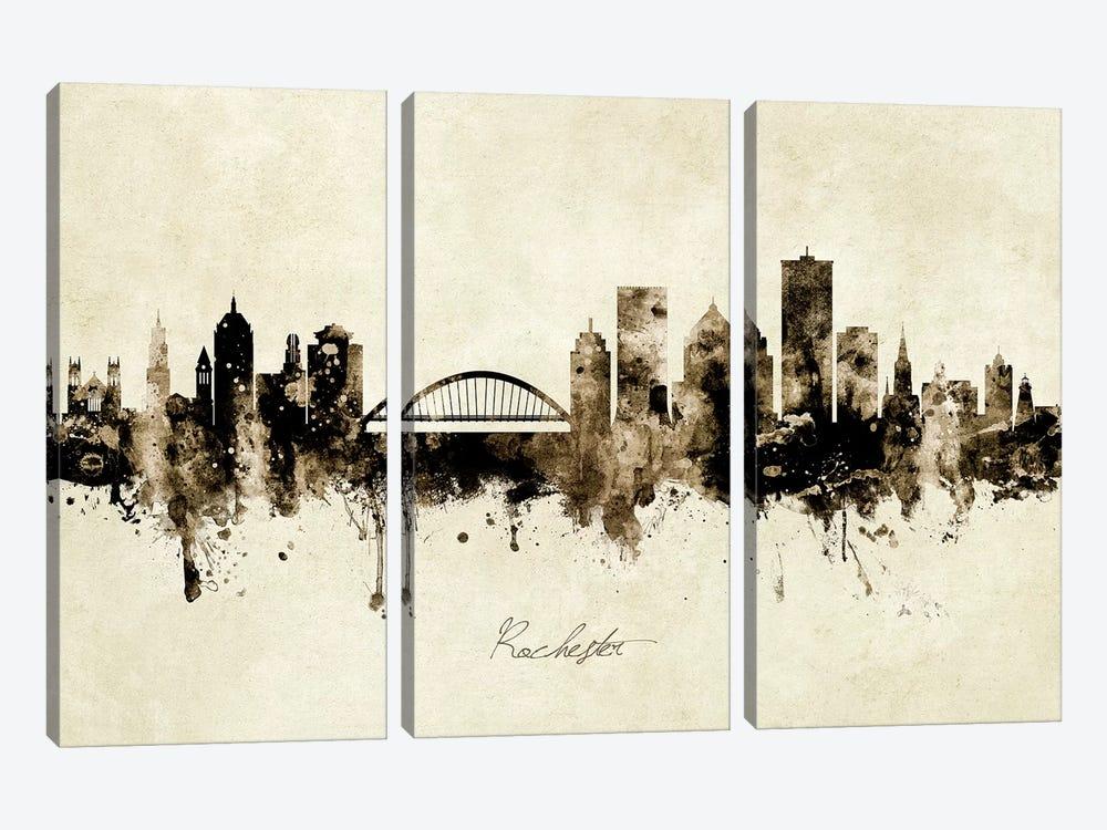 Rochester New York Skyline by Michael Tompsett 3-piece Canvas Wall Art