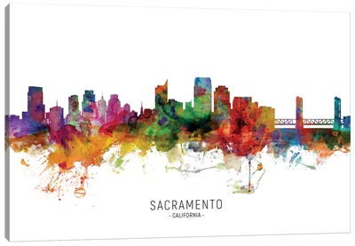 Sacramento California Skyline Canvas Art Print