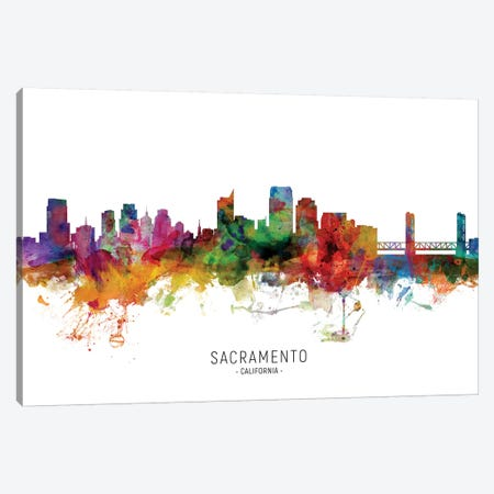 Sacramento California Skyline Canvas Print #MTO1977} by Michael Tompsett Canvas Art Print