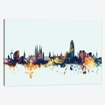 Barcelona, Spain On Blue Canvas Print #MTO197} by Michael Tompsett Canvas Wall Art