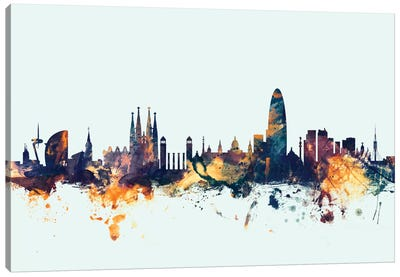 Skyline Series: Barcelona, Spain On Blue Canvas Art Print