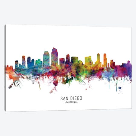 San Diego California Skyline Canvas Print #MTO1980} by Michael Tompsett Art Print