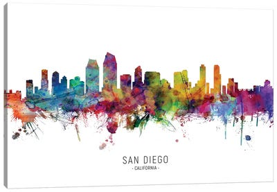 San Diego California Skyline Canvas Art Print