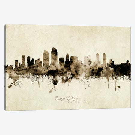 San Diego California Skyline Canvas Print #MTO1982} by Michael Tompsett Canvas Art Print