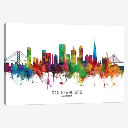 San Francisco California Skyline Canvas Print #MTO1984} by Michael Tompsett Canvas Art