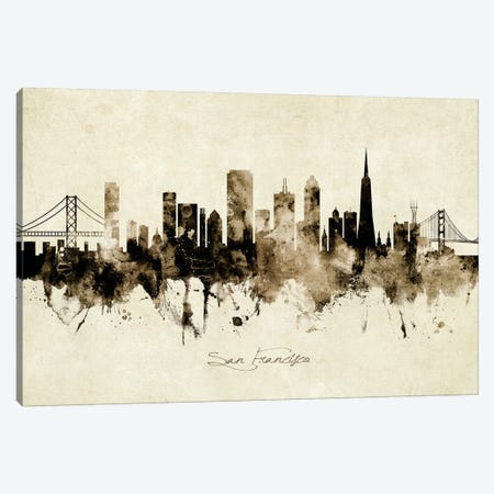 San Francisco California Skyline Canvas Print #MTO1985} by Michael Tompsett Canvas Art