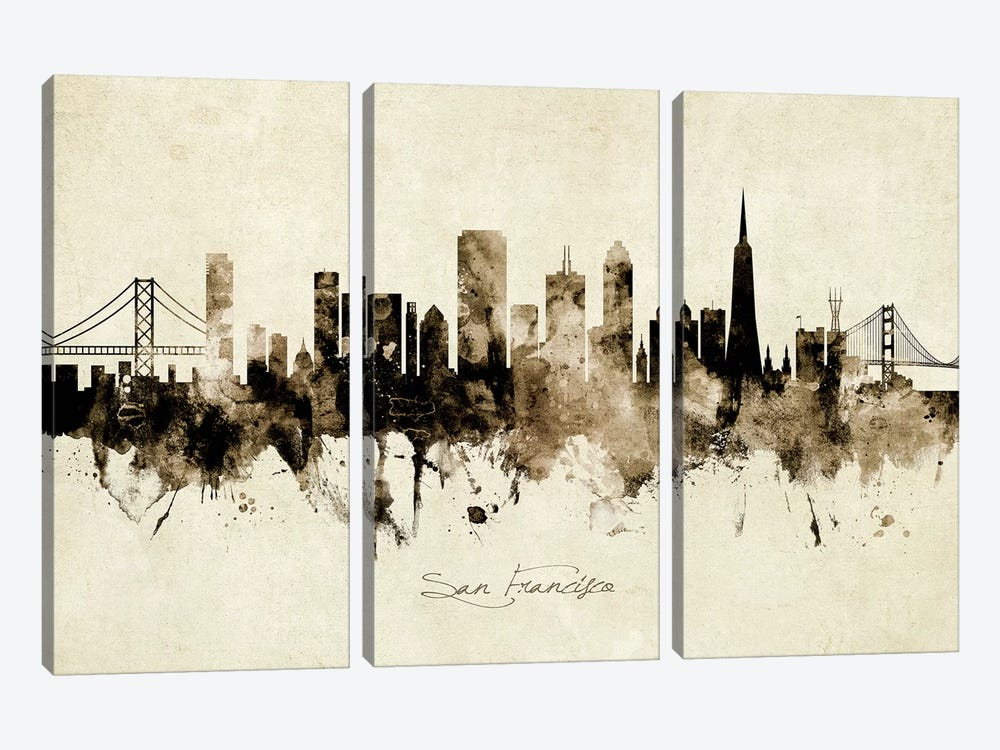 San Francisco California Skyline by Michael Tompsett 3-piece Canvas Wall Art