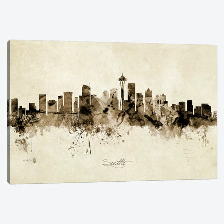 Seattle Washington Skyline Canvas Print #MTO1989} by Michael Tompsett Canvas Print