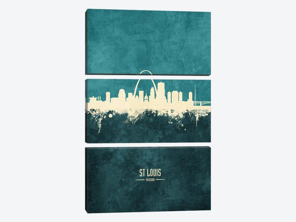 St Louis Missouri Skyline by Michael Tompsett 3-piece Canvas Artwork