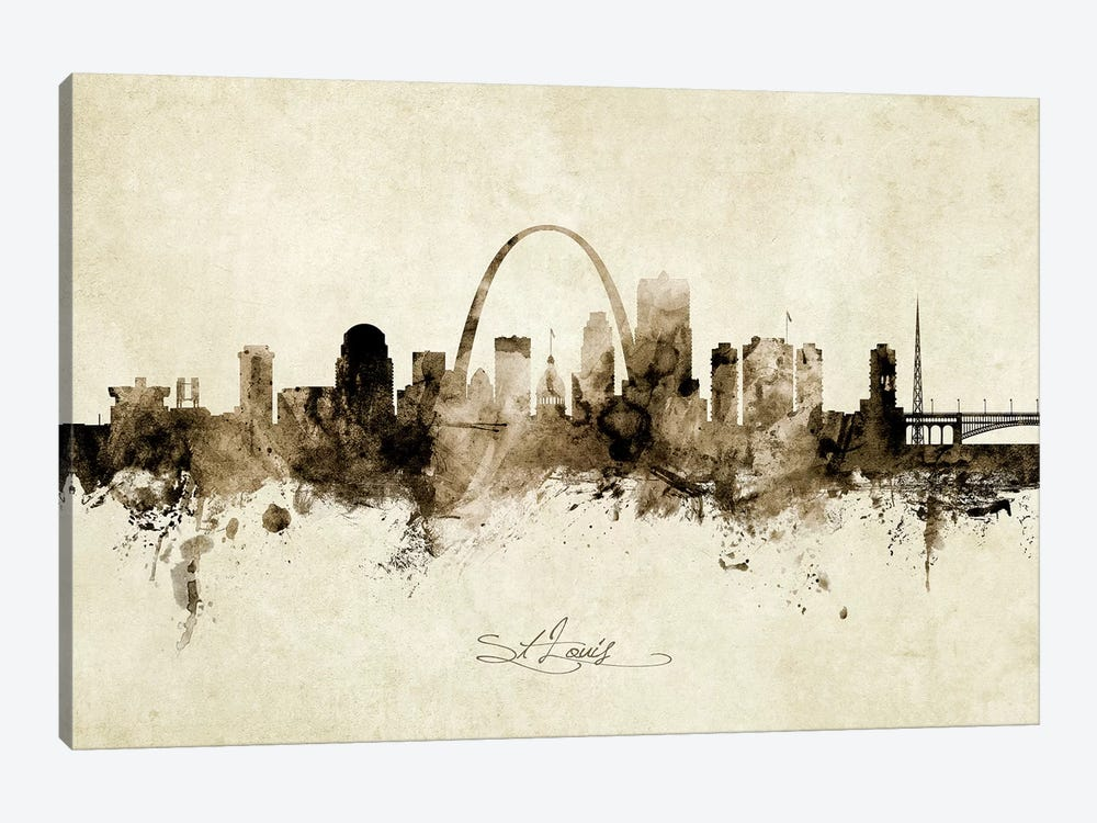 St Louis Missouri Skyline by Michael Tompsett 1-piece Canvas Art Print