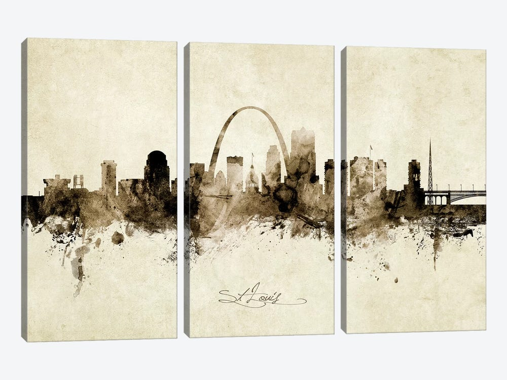 St Louis Missouri Skyline by Michael Tompsett 3-piece Art Print