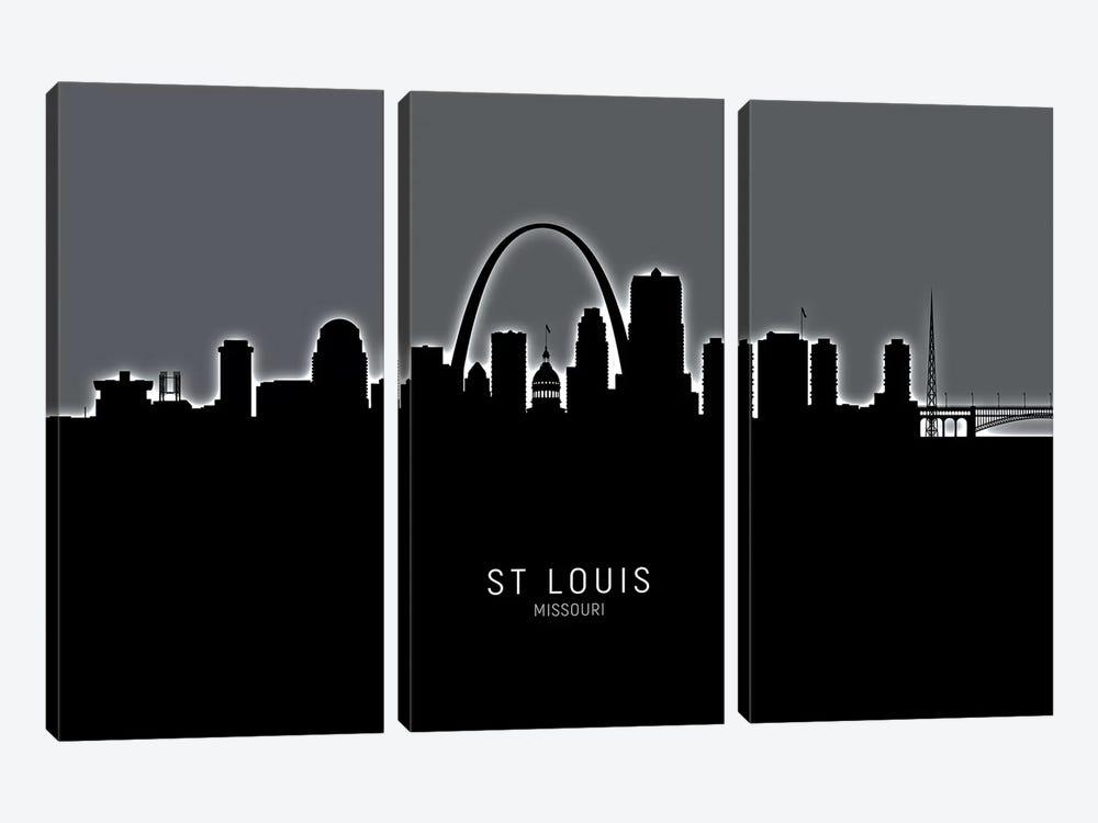 St Louis Missouri Skyline by Michael Tompsett 3-piece Canvas Art